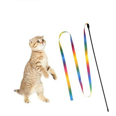 Kitten Pet Teaser Turkey Ribbon Interactive Fun Toy Wire Chaser Wand For Cat