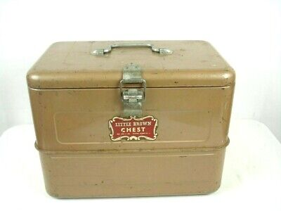 Vintage 50s Little Brown Ice Chest Cooler Camping Van Life