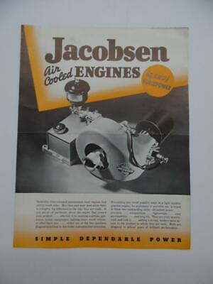 1940 Jacobsen 3/4 and 1 HP Air Cooled Engine Catalog Brochure Racine WI Vintage
