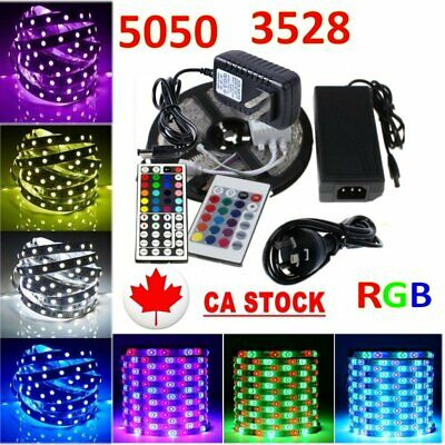 5050 3528 RGB LED Strip Lights Kits Flexible Tape 12V Power Adapter Controller