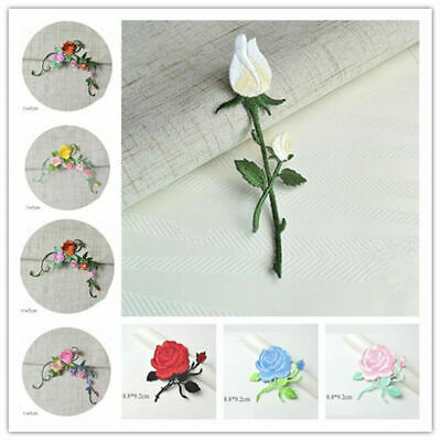 Embroidery Rose Flower Applique Badge Floral Collar Iron Sew On Patch Dress DIY