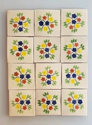 12 - HAND PAINTED MEXICAN IMPORTED TALAVERA GLAZED TILES 10.5cm x 10.5cm, MOSAIC