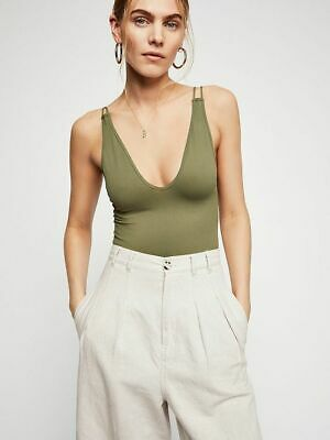 New Free People Womens Olive Green Double Strap Seamless Cami Tank Top $20n