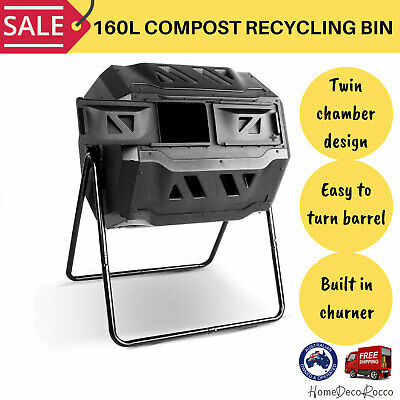 Green Fingers Compost Recycling Bin Aerated Trash Garbage Waste Composter Black