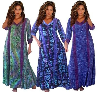 Bohemian Maxi Dress-Oversize Caftan-Deep Pockets- Quality Batik-Plus Size O580