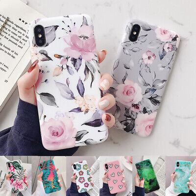 Flower Marble Pattern IMD Rubber Soft Case Cover For iPhone XS Max XR X 8 6s 7+