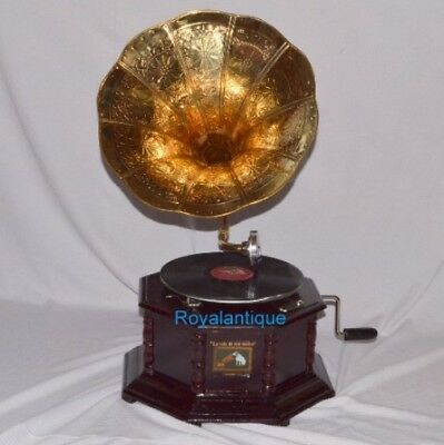 Collectables WORKING OCTAGONAL GRAMOPHONE PHONOGRAPH WITH BRASS CRAFTED BIG HORN