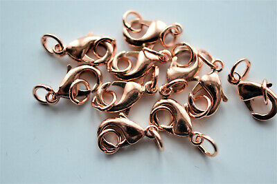 10 x Quality Brass Rose Gold Lobster Clasps 12mm with matching Jump rings (D.37)