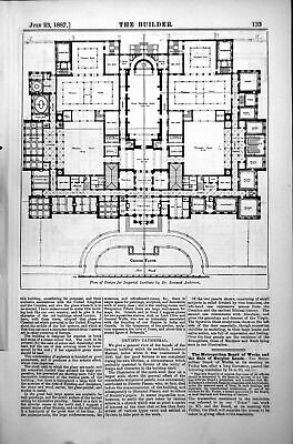 Old Plan Design Imperial Institute Dr Rowand Anderson A Blomfield 1887 19th
