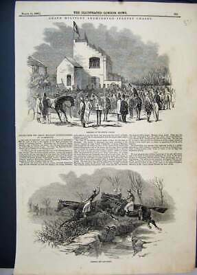 Original Old Antique Print 1846 Grand Military Leamington Steeple Chase Horses
