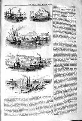 Original Old Antique Print 1842 Ships Boats Overland Rout 19th Century