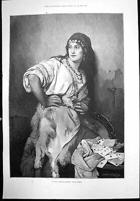 Original Old Antique Print Gipsy Fortune Teller H Mieth Woman Beads Cards 1891