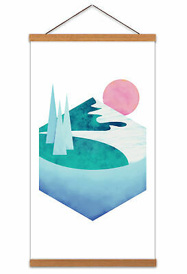 Abstract Minimalist Mountains Lake Canvas Wall Art Print Poster with Hanger