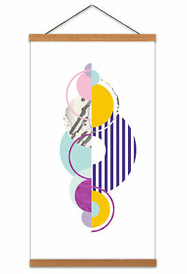 Abstract Minimalist Circles Canvas Wall Art Print Poster with Hanger 24x12 Inch