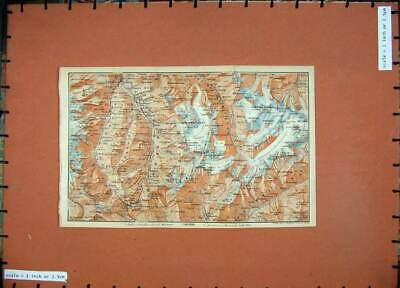 Original Old Antique Print 1905 Colour Map Switzerland Orsieres Mt Velan Combin