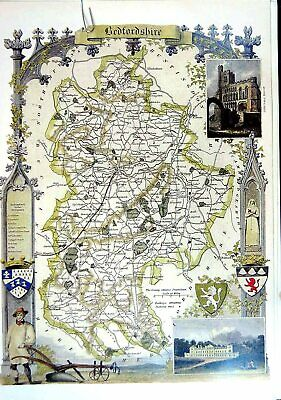 Original Old Vintage Print 1990 Map England County Bedfordshire Woburn Abbey