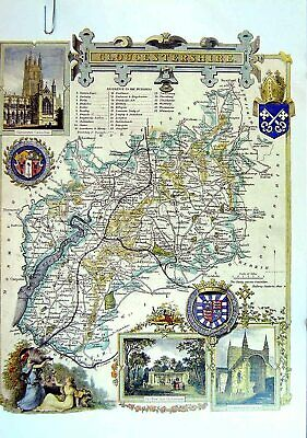 Original Old Vintage Print 1990 Map England County Gloucestershire River Severn