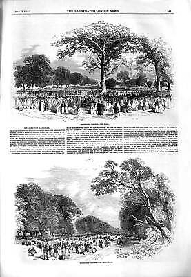 Original Old Antique Print 1851 Kensington Gardens Band Broad Walk Victorian