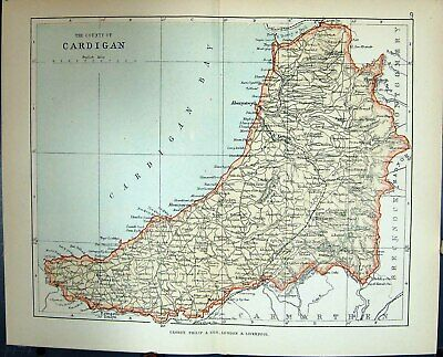 Original Old Antique Print County Cardigan Aberystwyth Wales Philips Map 1882