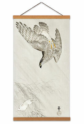 Ohara Koson Hawk Hunting A Hare Canvas Wall Art Print Poster with Hanger 24x12