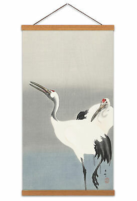 Ohara Koson Two Cranes Set Canvas Wall Art Print Poster with Hanger 24x12 Inch
