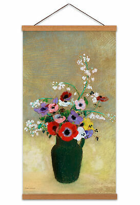 Odilon Redon Large Green Vase Mixed Flowers Painting Canvas Wall Art Print