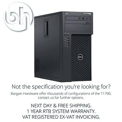 Dell T1700 Tower Workstation Xeon E3-1271 V3 Quadro 16GB RAM Precision CAD PC