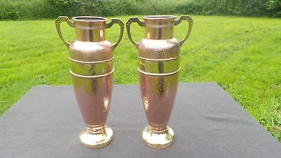 French Pair Secession Fine Copper Brass Flower Vases Pots Art Nouveau Jugendstil