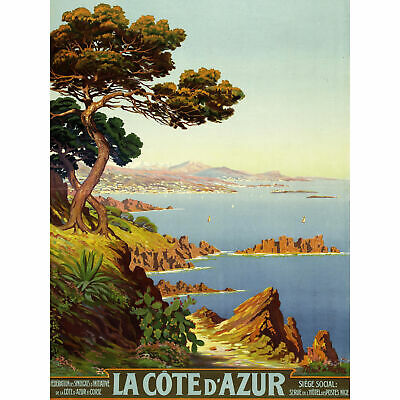 PRINT POSTER ADVERT TRAVEL TOURISM CANNES COTE D/'AZUR FRANCE BEACH SEA NOFL0520