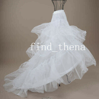 2 Hoop Skirt Train Tail Wedding Bridal Petticoat White  Underskirt Crinoline
