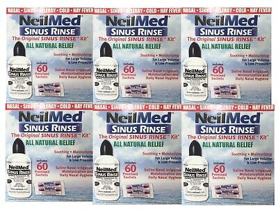 6x Neilmed Sinus Rinse Kit 60 Premixed Sachets 240ml Bottle kit