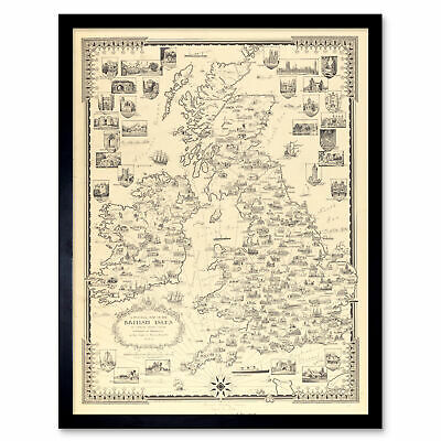 Chase 1935 Pictorial Map British Isles Buildings Framed Wall Art Poster