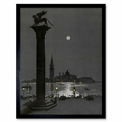 Tauzan Venice At Night Lion Column Artwork Framed Wall Art Poster