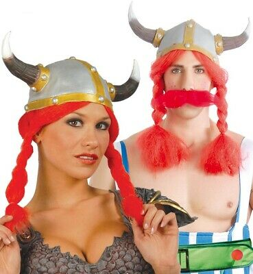 Ladies Mens Viking Hat with Red Plaits Helmet Fancy Dress Costume Outfit