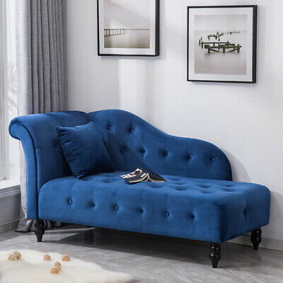 Retro Chesterfield Buttoned Velvet Chaise Lounge Loungue Sofa Day Bed Bench Blue