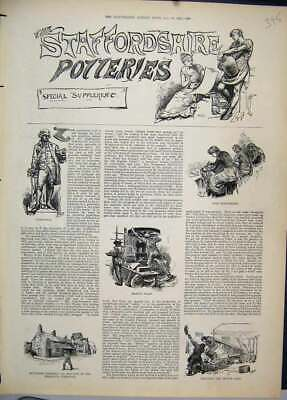 Original Old Antique Print 1884 Staffordshire Potteries Wedgewood Seggar Clay