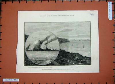 Old Antique Print 1882 Balloon Voyage English Channel Calais Packet Ship 19th