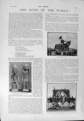 Old Antique Print 1900 King Carnival Nice Queen Chiefs Welby Traill Men 20th
