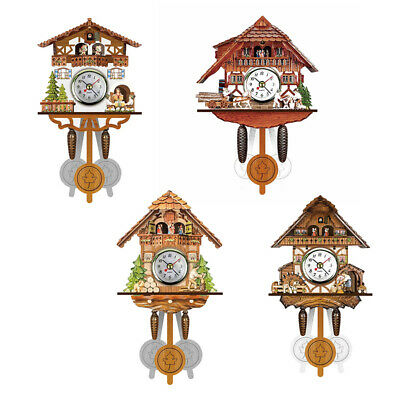 Decoration Wall Clock Time Bell Vintage Wood Antique Wooden Cuckoo Swing Watch
