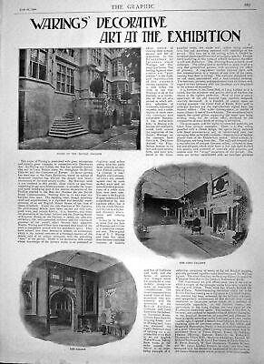 Old Antique Print 1900 Warings Decorative Art Exhibition Gallery Saloon 20th