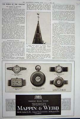 Original Old Vintage Print Advertisement 1922 Mappin Webb Watches London 20th