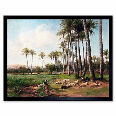 Bates Oasis Desert Sheep Lamb Palm Trees Painting Art Print Framed 12x16