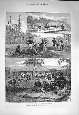 Old Antique Print 1873 Isle Pines New Caledonia Convicts Houses Natives 19th