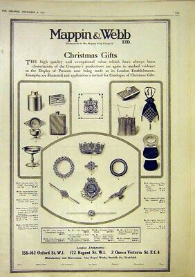 Original Old Vintage Print Mappin Webb Advert Christmas Gifts Silver 1917 20th