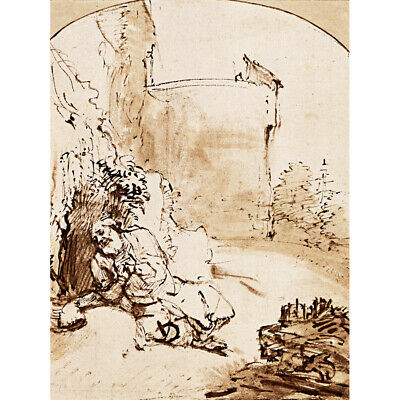 Rembrandt The Prophet Jonah Before The Walls Of Nineveh Canvas Art Print Poster