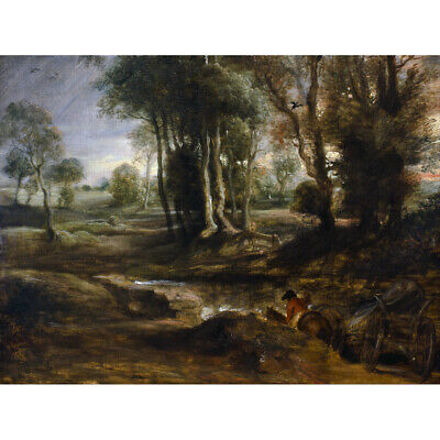 Rubens Evening Landscape With Timber Wagon Canvas Art Print Poster