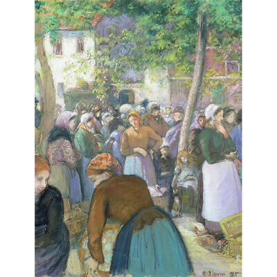 Pissarro Poultry Market At Gisors Cropped Canvas Art Print Poster