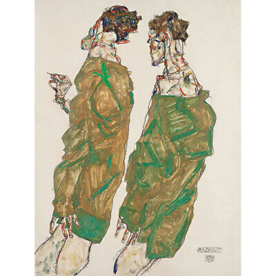 A4 size Abstract Deco Canvas Art Print Poster Unframed Egon Schiele