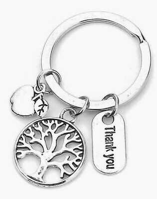 TEACHER THANK YOU KEY RING WITH ATTACHED CHARMS~School~Key Fob~Key Chain ()UK