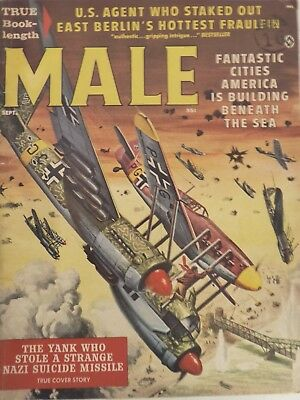 1961 MALE Magazine USA PULP FICTION.SEPTEMBER.MORT KUNSTLER COVER.WWII.DAMES.
